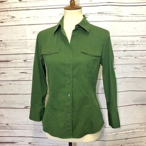 Theory Green Button Up Tabbed Sleeve Shirt